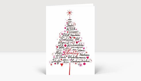 Weihnachtskarte Hamburg Baum gemalt