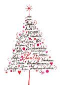 Weihnachtskarte Hamburg Baum gezeichnet