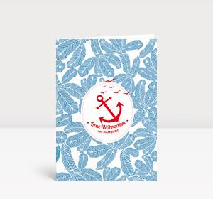 Weihnachtskarte Hamburg Ahoi Anker blau