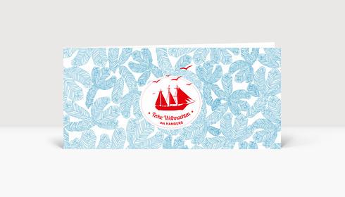 Weihnachtskarte Hamburg Ahoi Schiff blau DIN Lang