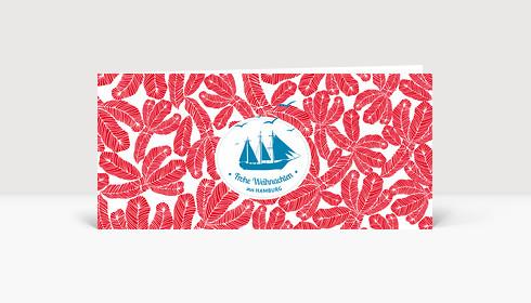 Weihnachtskarte Hamburg Ahoi Schiff rot DIN Lang