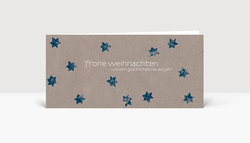 Weihnachtskarte Blaue Sterne auf beigem Karton