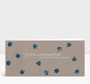 Weihnachtskarte Sternenkarton blau