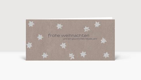 Weihnachtskarte Graue Sterne auf beigem Karton