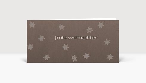 Weihnachtskarte Graue Sterne auf braunem Karton