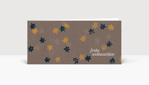Weihnachtskarte Blaue und gelbe Sterne auf braunem Karton