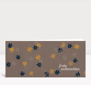 Weihnachtskarte Sternenkarton blau gelb