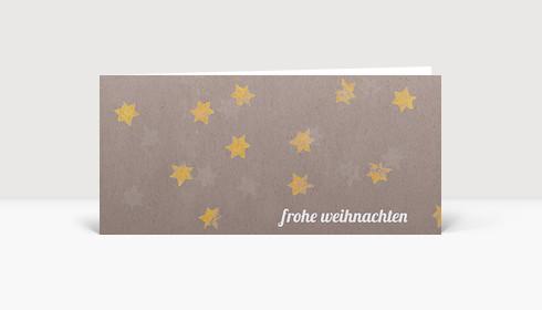 Weihnachtskarte Gelbe Sterne auf beigem Karton