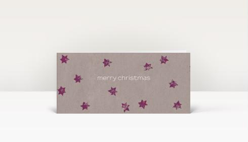 weihnachtskarte violette sterne auf beigem karton dk678. Black Bedroom Furniture Sets. Home Design Ideas