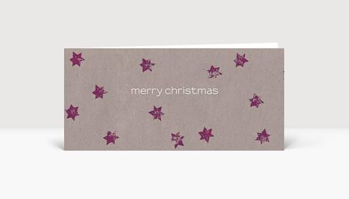 Weihnachtskarte Violette Sterne auf beigem Karton