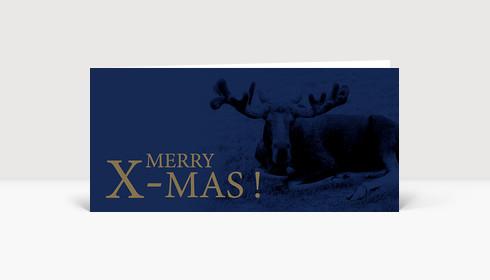 Weihnachtskarte Elch Merry X-Mas! blau