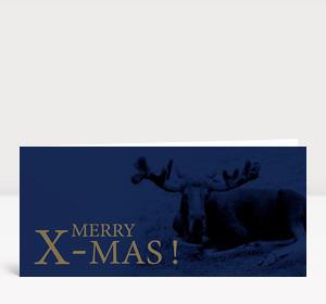 Weihnachtskarte X-Mas Elch blau