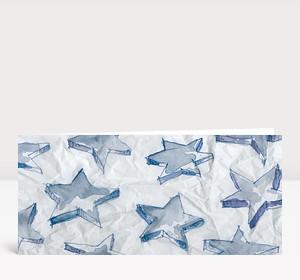 Weihnachtskarte Aquarellsterne blau