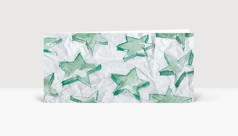 Weihnachtskarte Aquarellsterne grün