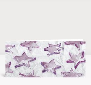Weihnachtskarte Aquarellsterne violett