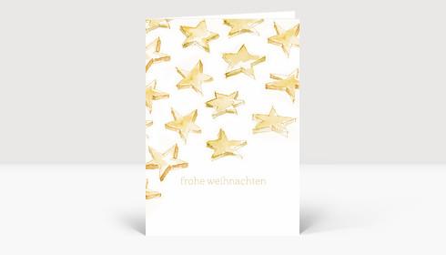 Weihnachtskarte Sternenschweif gelb