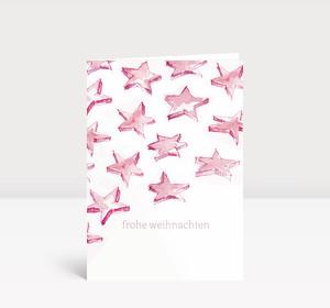 Weihnachtskarte Sternenschweif pink