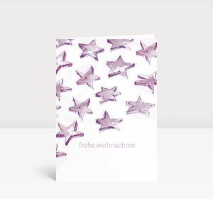 Weihnachtskarte Sternenschweif violett