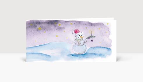 Weihnachtskarte Schneemann Aquarell