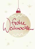 Weihnachtskarte Christbaumkugel und Sterne