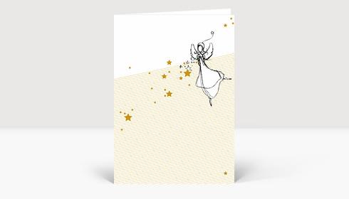 Weihnachtskarte Weihnachts-Engel mit goldenen Sternen auf weiss