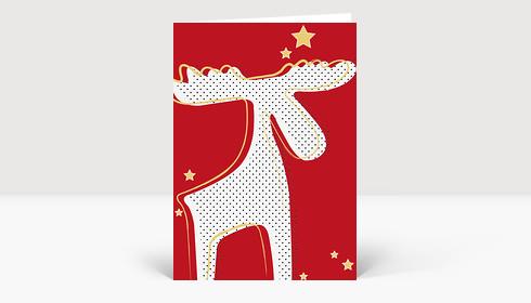 Weihnachtskarte Rentier mit Sternen in rot