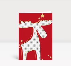 Weihnachtskarte Rentier rot