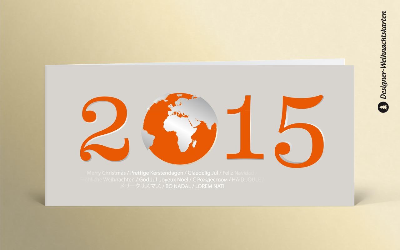 Weihnachtskarte 2015 globus orange dk1380 designer - Designer weihnachtskarten ...