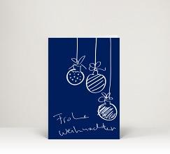 Weihnachtskarte dk1588 drei handgezeichnete - Christbaumkugel englisch ...