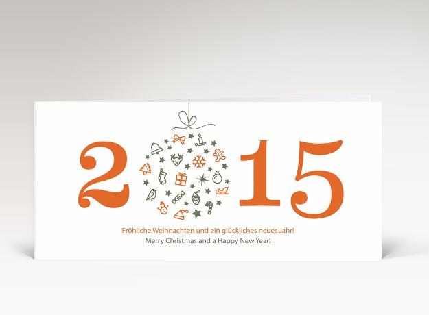 Weihnachtskarte weihnachtskugel 2015 orange dk2391 - Designer weihnachtskarten ...