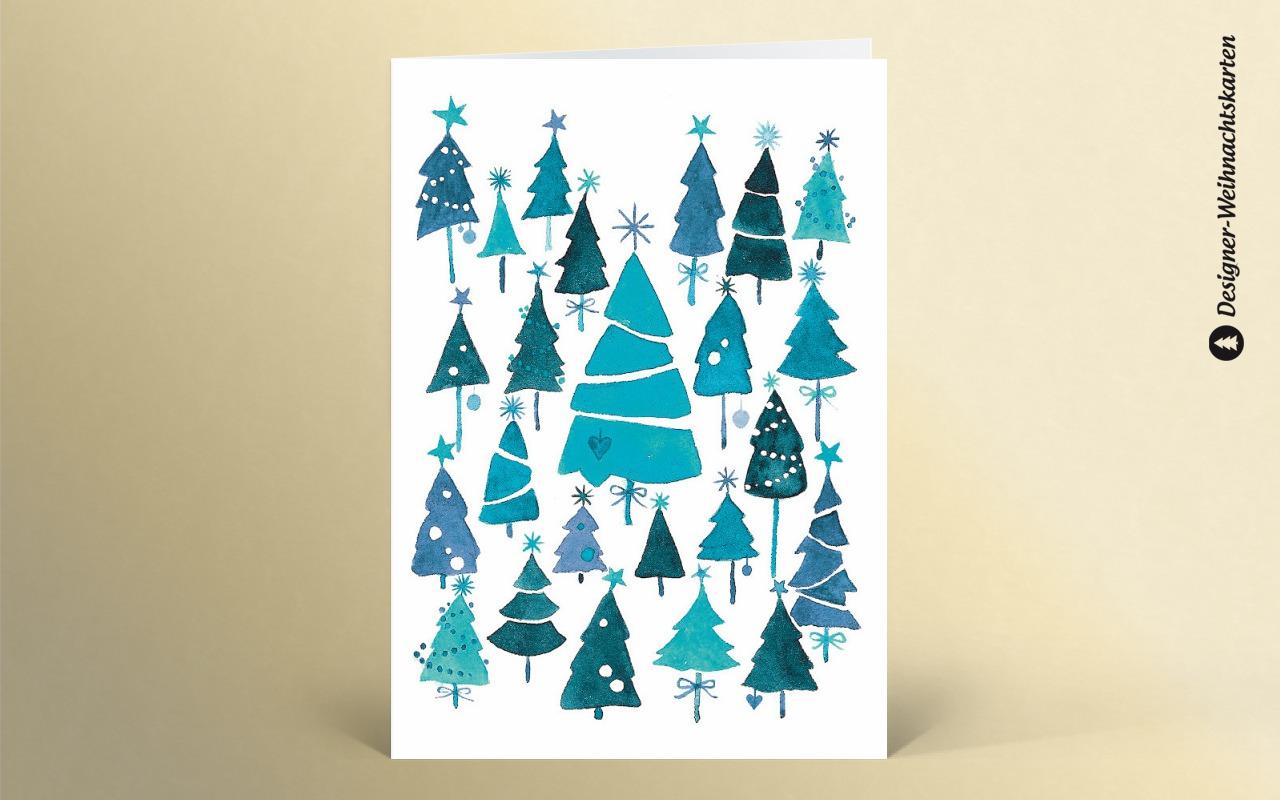 Weihnachtskarte weihnachtswald blau dk1946 designer - Designer weihnachtskarten ...